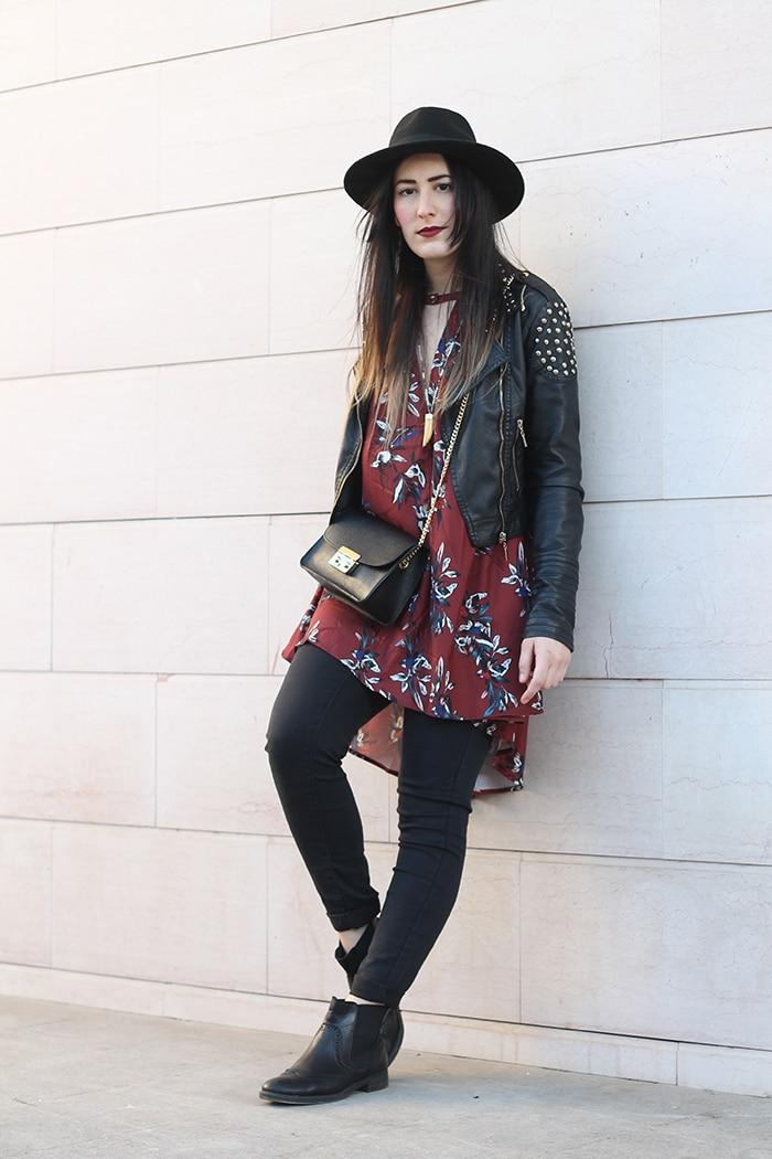 outfit-boho-chic-vestito-floreale-cappello-3