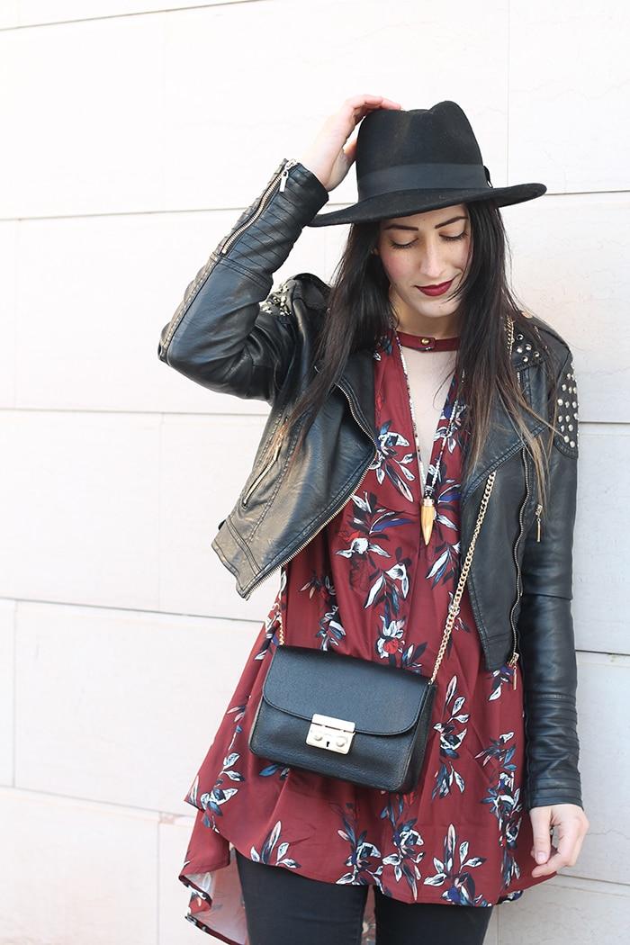 outfit-boho-chic-vestito-floreale-cappello-6