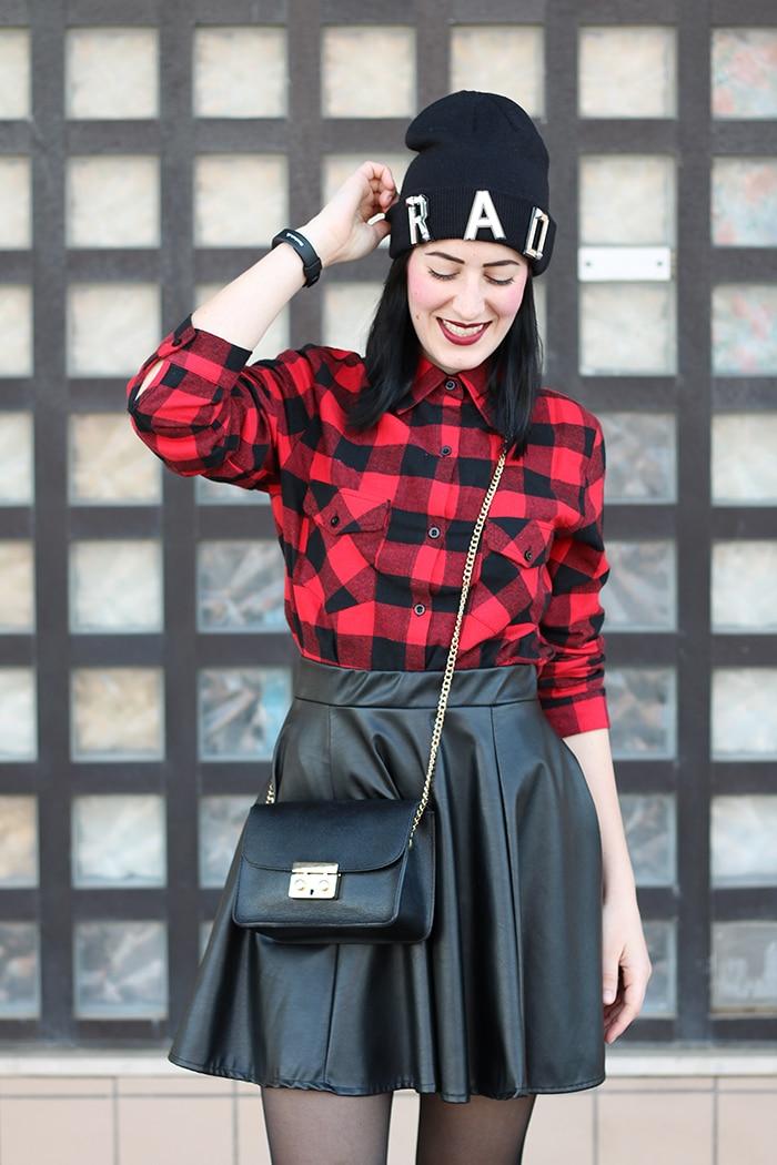 outfit-gonna-ruota-ecopelle-camicia-scacchi-nike-huarache-5