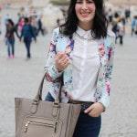 outfit primavera blazer floreale fashion blogger roma