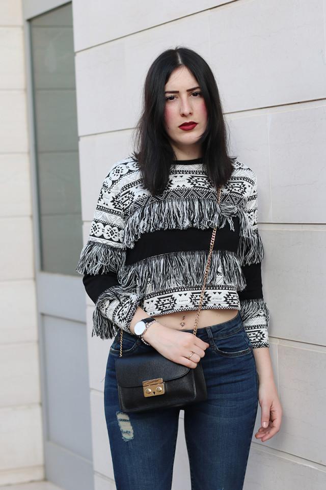 ovs, outfit, skinny jeans, sandali col tacco, frange, primavera 2016, federica orlandi, fashion blogger roma,