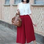 outfit pantaloni culotte sandali gioiello top off the shoulder