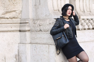outfit universita little black dress roma coppedè