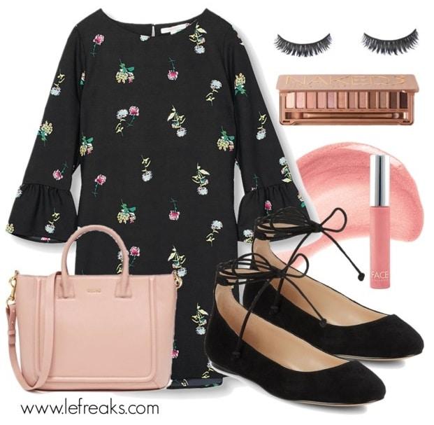 outfit con abito a fantasia floreale