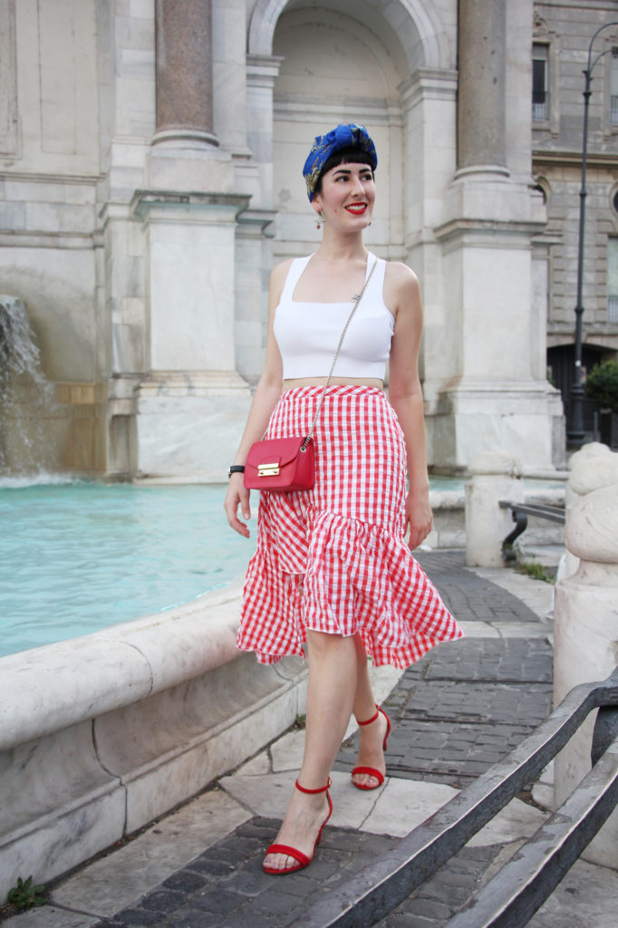 outfit pin up gonna vichy turbante