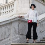outfit pantaloni a campana con le rouches shein