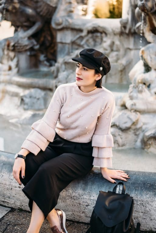 outfit-baker-boy-hat-maglione-shein-maniche-rouchues-m
