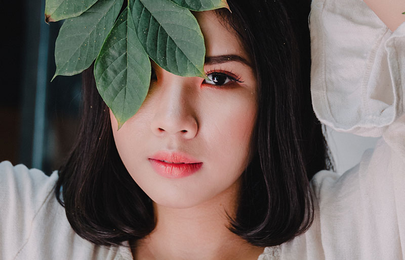 skincare coreana primo piano ragazza orientale