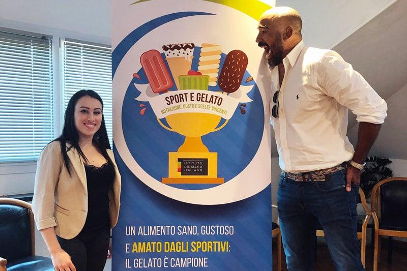 gli atleti Vanessa Ferrari e Amaurys Perez all'evento organizzato dall'Istituto del Gelato Italiano