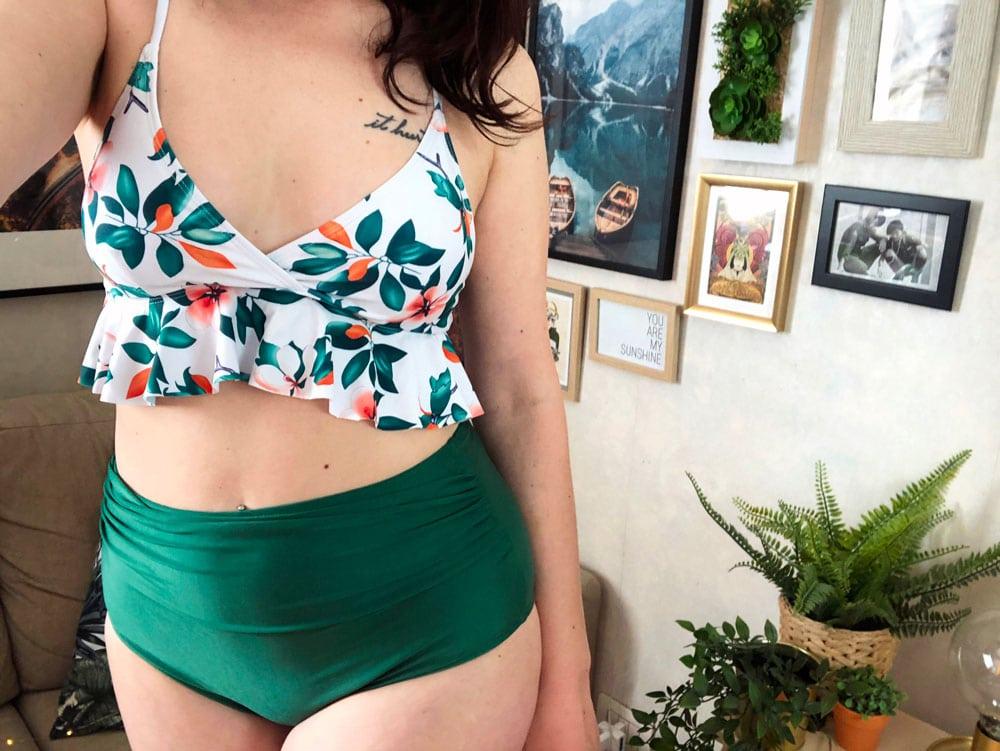 Shein costumi bikini con top peplo e slip a vita alta
