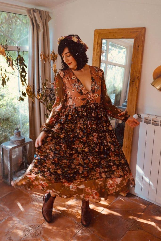 outfit boho vestito floreale shein