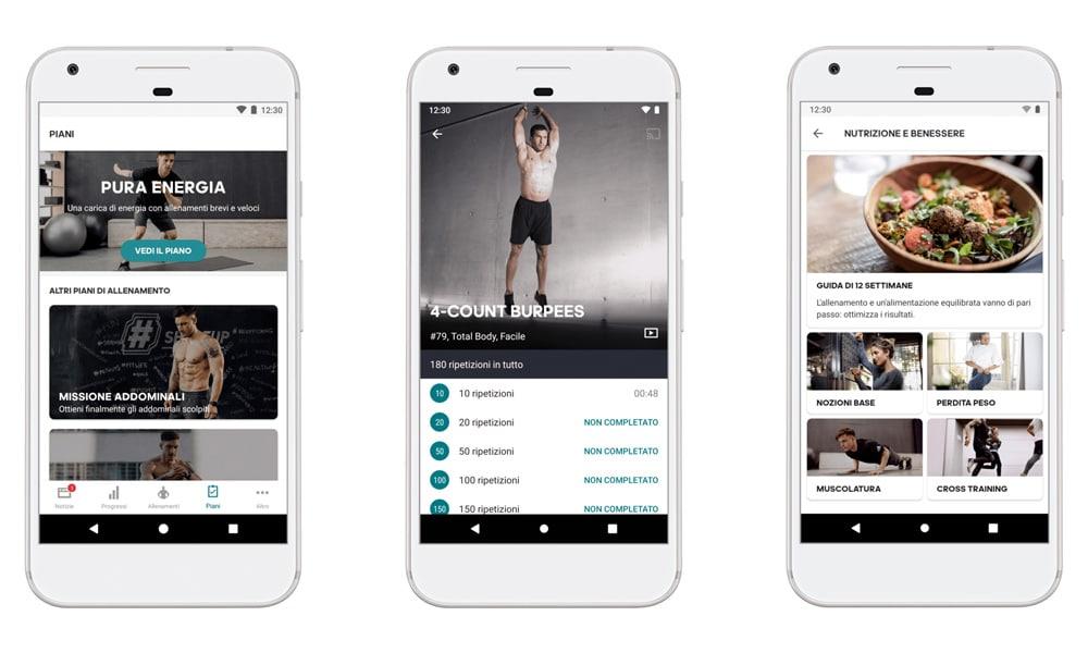 Schermate d'esempio Adidas Home Training App