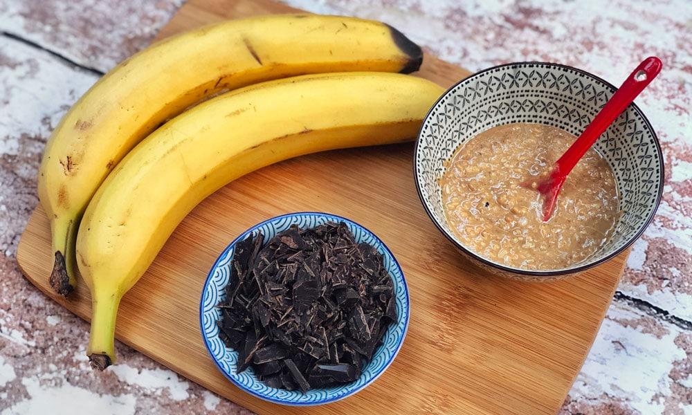 banana, burro d'arachidi e cioccolato fondente