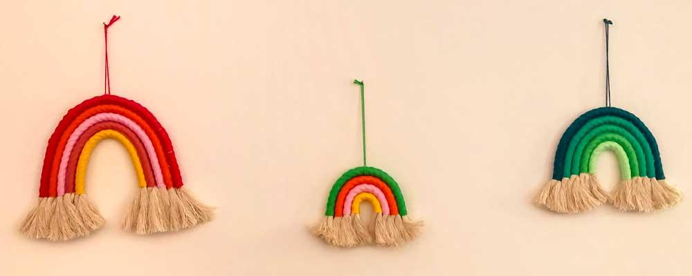 arcobaleni in corda decorazione da parete