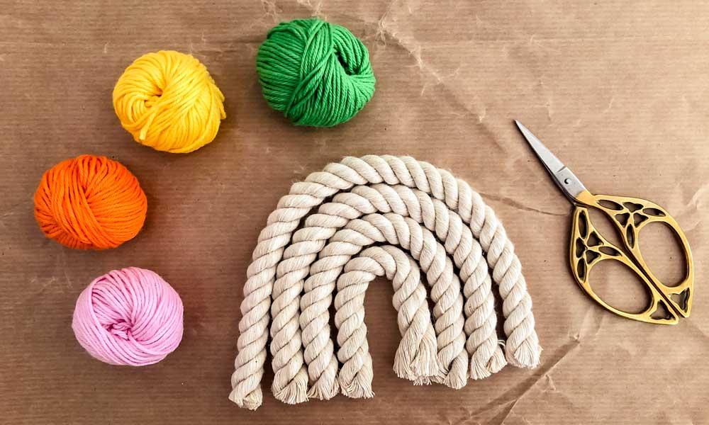 arcobaleno in corda fai da te