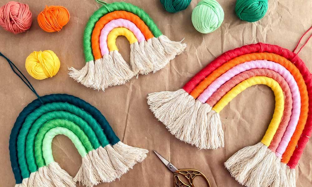 tutorial arcobaleno in macramè fai da te decorazione da parete