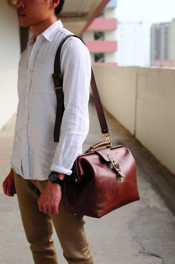 outfit casual con borsa da medico in pelle